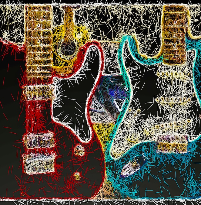 Red & Blue Guitars